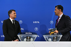NYON, SWITZERLAND - Friday, July 10, 2020: Former Bayern Munich player Thomas Helmer (L) and presenter Pedro Pinto during the UEFA Champions League and UEFA Europa League 2019/20 draws for the Quarter-final, Semi-final and Final at the UEFA headquarters, The House of European Football. (Photo Handout/UEFA)