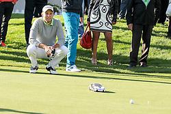 23.06.2015, Golfclub München Eichenried, Muenchen, GER, BMW International Golf Open, Show Event, im Bild Die Spieler muessen versuchen mit einem Modellauto den Golfball einzulochen, Maximilian Kieffer (GER) // during the Show Event of BMW International Golf Open at the Golfclub München Eichenried in Muenchen, Germany on 2015/06/23. EXPA Pictures © 2015, PhotoCredit: EXPA/ Eibner-Pressefoto/ Kolbert<br /> <br /> *****ATTENTION - OUT of GER*****