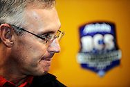 Ohio State head coach Jim Tressel answers questions during Media Day at the Superdome in New Orleans, Jan. 5, 2007.