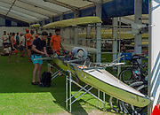"""Henley on Thames, United Kingdom, 29th June 2018, Friday, """"Henley Royal Regatta"""", Qualifying races, [Time Trails] London Rowing Clug Rig and prepare their boat for thr race, over the, Regatta Course, Henley Reach, River Thames, Thames Valley, England, © Peter SPURRIER, 29/06/2018"""
