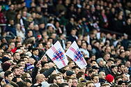 English fans with flags during the Friendly match between England and Germany at Wembley Stadium, London, England on 10 November 2017. Photo by Sebastian Frej.