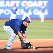 NEW YORK, NEW YORK - APRIL 12: Wilmer Flores, New York Mets, during fielding practice before the Miami Marlins Vs New York Mets MLB regular season ball game at Citi Field on April 12, 2016 in New York City. (Photo by Tim Clayton/Corbis via Getty Images)