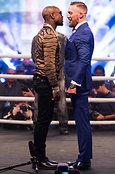July 14, 2017 - London, London, UK - Professional boxer FLOYD MAYWEATHER UFC and Lightweight Champion CONOR MCGREGOR appear at Wembley SSE on the final leg of their World Tour in London, UK (Credit Image: © Ray Tang via ZUMA Wire)