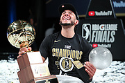 ORLANDO, FL - MARCH 11: Devin Cannady #30 of the Lakeland Magic poses with the NBA G League Finals Trophy and the 2021 NBA G League Finals MVP Trophy on court after winning the 2021 NBA G League Finals on March 11, 2021 at AdventHealth Arena in Orlando, Florida. NOTE TO USER: User expressly acknowledges and agrees that, by downloading and/or using this Photograph, user is consenting to the terms and conditions of the Getty Images License Agreement. Mandatory Copyright Notice: Copyright 2021 NBAE (Photo by Chris Marion/NBAE via Getty Images)