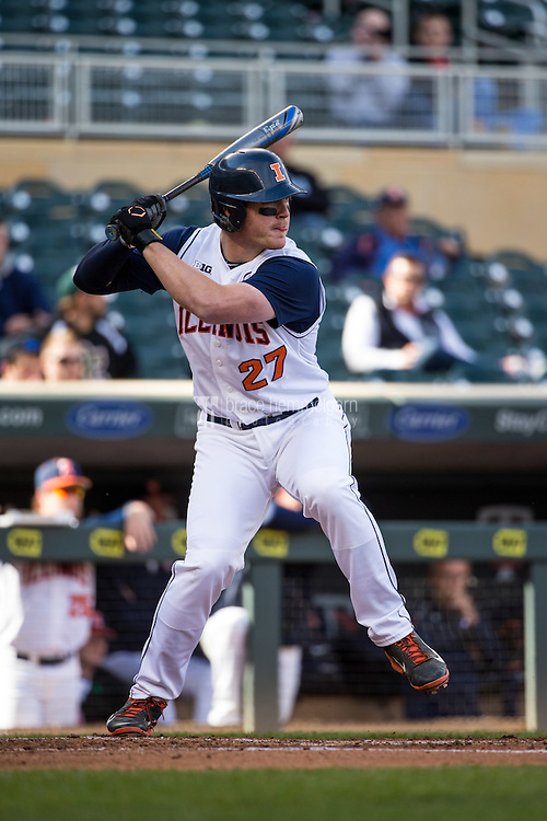 Pat McInerney (27) of the Illinois Fighting Illini bats during the 2015 Big Ten Conference Tournament between the Illinois Fighting Illini and Nebraska Cornhuskers at Target Field on May 20, 2015 in Minneapolis, Minnesota. (Brace Hemmelgarn)