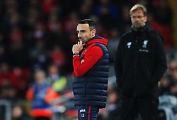 Swansea City caretaker manager Leon Britton reacts ahead of Liverpool manager Jurgen Klopp - Mandatory by-line: Matt McNulty/JMP - 26/12/2017 - FOOTBALL - Anfield - Liverpool, England - Liverpool v Swansea City - Premier League