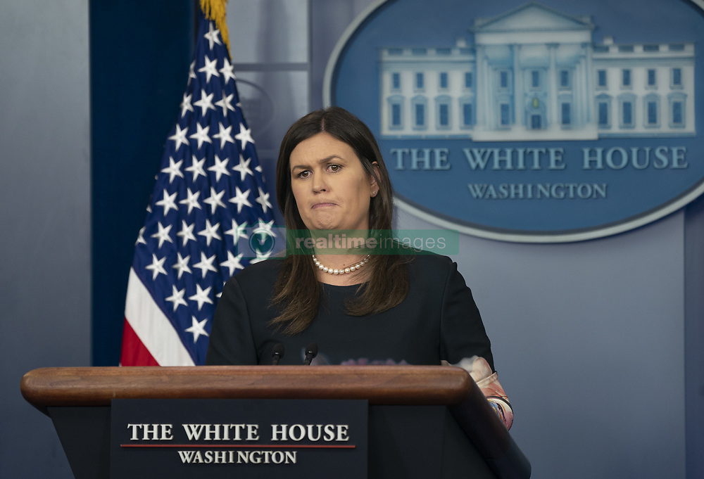 August 1, 2018 - Washington, District of Columbia, United States of America - White House Press Secretary Sarah Sanders holds a news briefing at the White House in Washington, DC, August 1, 2018.Credit: Chris Kleponis / CNP (Credit Image: © Chris Kleponis/CNP via ZUMA Wire)