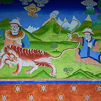Asia, Bhutan, Trongsa. Yankhill Resort wall painting in Trongsa.