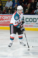KELOWNA, CANADA, JANUARY 4: Myles Bell #29 of the Kelowna Rockets skates with the puck as the Spokane Chiefs visit the Kelowna Rockets on January 4, 2012 at Prospera Place in Kelowna, British Columbia, Canada (Photo by Marissa Baecker/Getty Images) *** Local Caption ***