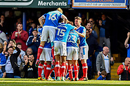 Portsmouth Players Celebrate after Portsmouth Midfielder, Kal Naismith (22) scores a goal 2-0 during the EFL Sky Bet League 2 match between Portsmouth and Cambridge United at Fratton Park, Portsmouth, England on 22 April 2017. Photo by Adam Rivers.