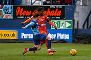 Wycombe Wanderers midfielder Dominic Gape tackles Luton Town midfielder Pelly-Ruddock Mpanzu during the EFL Sky Bet League 1 match between Luton Town and Wycombe Wanderers at Kenilworth Road, Luton, England on 9 February 2019.
