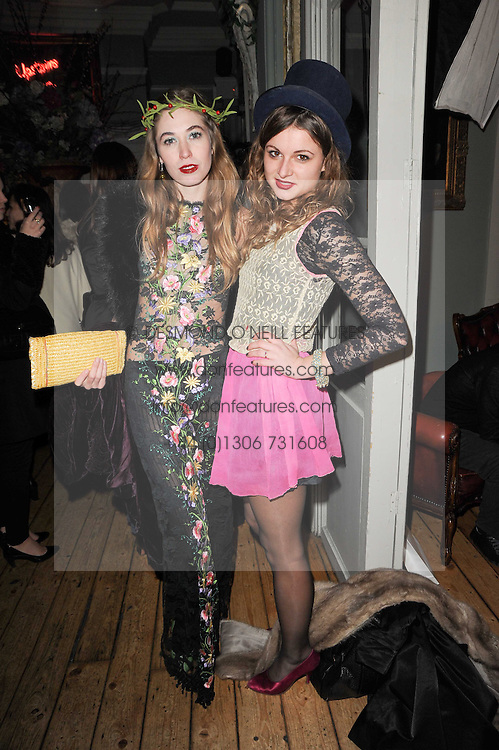 Left to right, ANOUSHKA BECKWITH and BENEDICTE WILHELMSEN at a party to celebrate the 1st anniversary of Alice Temperley's label held at Paradise, Kensal Green, London W10 on 25th November 2010.