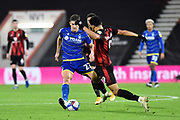 Dominic Solanke (9) of AFC Bournemouth challenges Ryan Yates (22) of Nottingham Forset during the EFL Sky Bet Championship match between Bournemouth and Nottingham Forest at the Vitality Stadium, Bournemouth, England on 24 November 2020.