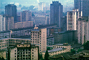 Featureless, dour and grey apartment buildings of the North Korean capital, Pyongyang