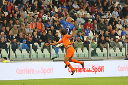 June 4, 2018 - Turin, Piedmont, Italy - Simone Zaza (Italy) and Nathan Ak (Holland) compete for the ball during the friendly football match between Italy and Holland at Allianz Stadium on June 04, 2018 in Turin, Italy. Final result: 1-1  (Credit Image: © Massimiliano Ferraro/NurPhoto via ZUMA Press)