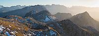 View from summit of Schneibstein (2275m) South across Hagengebirge (Austria) towards Steinernes Meer, Bavaria, Germany/Salzburgerland, Austira