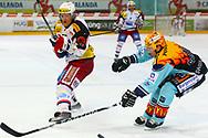 19.03.2011, Rapperswil-Jona, Eishockey NLA Playout, Rapperswil-Jona Lakers - HC Ambri-Piotta, Vladimir Denisov (AMB) gegen Stacy Roest (LAK)  (Thomas Oswald/hockeypics)