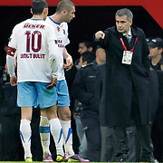 Trabzonspor's coach Senol GUNES (R) during their Turkish superleague soccer derby match Galatasaray between Trabzonspor at the TT Arena in Istanbul Turkey on Sunday, 10 April 2011. Photo by TURKPIX