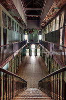 The abandoned great hall inside an old brothel in historic Hot Springs Arkansas.