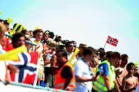 Beach hånball, 28. juni 2009 , <br /> Beach handball,<br /> EM-finale<br /> Norge - Italia<br /> illustrasjon ,, arena , tribune<br /> publikum , flagg , norsk flagg