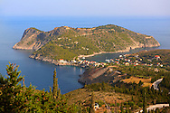 View of Assos with the Venetian Isalnd fortifications. Kefalonia, Greek Ionian Islands .<br /> <br /> Visit our GREEK HISTORIC PLACES PHOTO COLLECTIONS for more photos to download or buy as wall art prints https://funkystock.photoshelter.com/gallery-collection/Pictures-Images-of-Greece-Photos-of-Greek-Historic-Landmark-Sites/C0000w6e8OkknEb8
