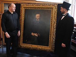 Iain Hammond Brown and Andrew Carnegie's great-great-great grandson Joe Whiteman with the painting<br /> <br /> (c) David Wardle | Edinburgh Elite media
