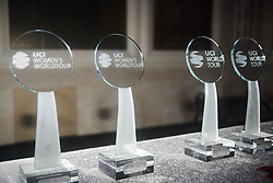 Awards ready to be given out at The UCI Cycling Gala 2018 in Guilin, China on October 21, 2018. Photo by Sean Robinson/velofocus.com