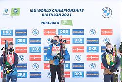 14.02.2021, Center Pokljuka, Pokljuka, SLO, IBU Weltmeisterschaften Biathlon, Sprint, Herren, Siegerehrung, im Bild samuelsson (debastien) (sue, jacquelin (emilien) (fra), boe (johannes thingnes) (nor), , // during the winner ceremony for the mens Sprint competition of IBU Biathlon World Championships at the Center Pokljuka in Pokljuka, Slovenia on 2021/02/14. EXPA Pictures © 2021, PhotoCredit: EXPA/ Pressesports/ Frederic Mons<br /> <br /> *****ATTENTION - for AUT, SLO, CRO, SRB, BIH, MAZ, POL only*****