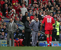 Photo: Andrew Unwin.<br />Liverpool v Everton. The Barclays Premiership. 25/03/2006.<br />Liverpool's manager, Rafa Benitez (L), cannot believe it as Steven Gerrard (R) is sent off.