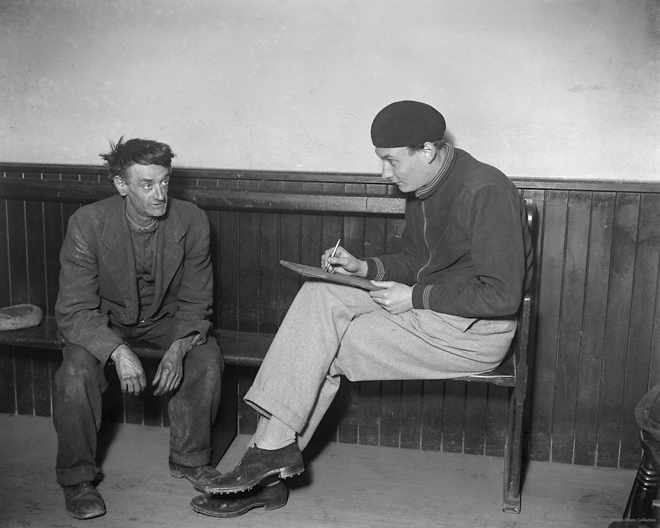 The Honourable Patrick Balfour Sketching a Cornish Fisherman, West Looe, Cornwall, England, 1932