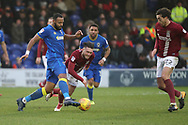 AFC Wimbledon midfielder Liam Trotter (14) battles for possession during the EFL Sky Bet League 1 match between AFC Wimbledon and Northampton Town at the Cherry Red Records Stadium, Kingston, England on 10 February 2018. Picture by Matthew Redman.