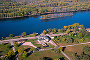 Sunrise aerial image over Dousman House, Prairie du Chien, Crawford County, Wisconsin on a beautiful morning.