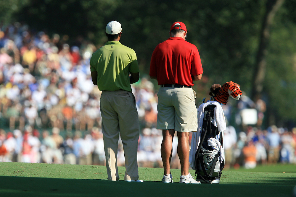 11 August 2007: Tiger Woods and caddie Steve Williams plan the second shot on the 17th hole during the third round of the 89th PGA Championship at Southern Hills Country Club in Tulsa, OK.