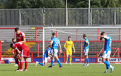 Christy Pym of Peterborough United cuts a dejected figure after Accrington Stanley score the opening goal of the game - Mandatory by-line: Joe Dent/JMP - 12/09/2020 - FOOTBALL - Wham Stadium - Accrington, England - Accrington Stanley v Peterborough United - Sky Bet League One