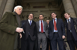 BRUSSELS, BELGIUM - FEB-26-2003 - Left to right: Wim Verreycken , Gerolf Annemans , Frank Van Hecke and Filip DeWinter , leaders of the Vlaams Blok , the extreme right Flemish Nationalist party in Belgium, celebrate their victory in an appelate court hearing on a racism suit brought against them by a civic organization The Center for Equal Opportunities. ( Centrum voor Gelijke Kansen ) The man on the far right is unidentified. (PHOTO © JOCK FISTICK)