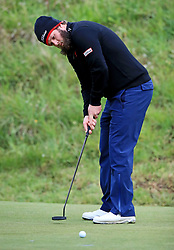 Andrew Johnson plays his 2nd shot on the 10th green during day two of the Betfred British Masters at Hillside Golf Club, Southport.