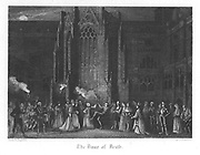 Earl of Rochester and his dissolute friends staging a Dance of Death at Saint Paul's during the Plague of London (1665). Illustration by John Franklin (active 1800-1861) for William Harrison Ainsworth 'Old Saint Paul's', London 1855 (first published 1841). Engraving.