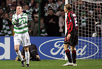 Photo: Paul Thomas.<br /> Glasgow Celtic v AC Milan. UEFA Champions League. Last 16, 1st Leg. 20/02/2007.<br /> <br /> Lee Naylor (3) of Celtic shows his frustration at missing the goal chance.