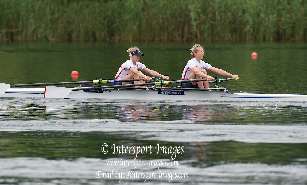 Lucerne, SWITZERLAND. GBR LW2X. Bow Imogen WALSH and Kat COPELAND 2014 at the FISA WC III, Lake Rotsee.  09:40:09  Friday  11/07/2014  [Mandatory Credit; Peter Spurrier/Intersport-images]