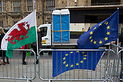 Brexit flags and Portaloos opposite Parliament on College Greeen in Westminster, the morning after another of Prime Minister Theresa May's Brexit deal votes failed again in Parliament, on 13th March 2019, in London, England.