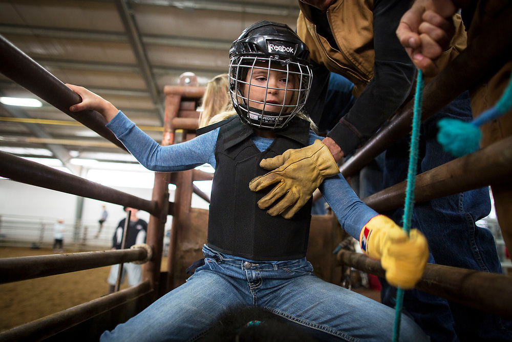 during rodeo school in Prince Albert, Saskatchewan, May 3, 2017. Photograph by Todd Korol/Globe and Mail