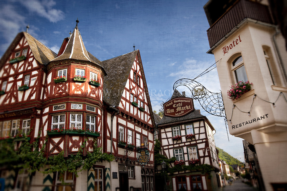 View of a Tudor style cafe and hotel in Bacharach, Germany