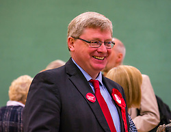 Haddington & Lammermuir by-election count. Haddington, East Lothian, Scotland, United Kingdom, 10 May 2019. Pictured:  Martin Whitfield, East Lothian MP . The election takes place of one councillor in Ward 5 of East Lothian Council due to the resignation of Councillor Brian Small. The successful candidate represents this ward along with the three existing councillors. The by-election uses the Single Transferable Vote (STV) system in which voters can rank candidates in order of preference and can choose to vote for as many or as few candidates as they like. The election fields 5 candidates from Scottish National Party (SNP), Scottish Labour Party, Scottish Conservatives and Unionist Party, Scottish Liberal Democrats and UK Independence Party (UKIP).<br /> <br /> Sally Anderson | EdinburghElitemedia.co.uk