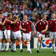 Denmark's players celebrates with Jon Dahl Tomasson after he scored the winning goal