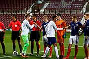 Teams shake hands ahead of kickoff at the U21 UEFA EUROPEAN CHAMPIONSHIPS match Scotland vs England at Tynecastle Stadium, Edinburgh, Scotland, Tuesday 16 October 2018.