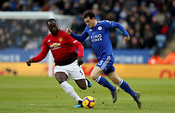 Leicester City's Ben Chilwell (right) and Manchester United's Romelu Lukaku battle for the ball
