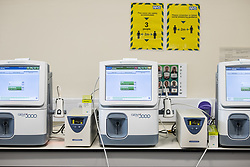 © Licensed to London News Pictures . 18/02/2021. Bury , UK .  New Gem 5000 Blood Gas Analysis computers are prepped for deployment on wards . With wards being split in to Covid positive and Covid negative areas , essential equipment has had to be doubled up . Inside Fairfield Hospital , where patients are being treated for the effects of Coronavirus . Photo credit : Joel Goodman/LNP