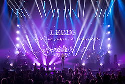 © Licensed to London News Pictures . 25/06/2017 . Leeds , UK . Canadian singer Celine Dion pays tribute to the victims of the Manchester Arena bombing attack as she performs at the First Direct Arena in Leeds in the first of two shows relocated from the Manchester Arena following a murderous terror attack at the Manchester venue on 22nd May 2017 . Photo credit : Joel Goodman/LNP