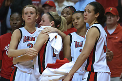 1 April 2010: Maggie Krick, Amanda Clifton, Shala Jackson and Ashleen Bracey console each other as the final moments of the game, season, tournament, and for some the college career tick to a close. The Redbirds of Illinois State are dropped by the Golden Bears of California 61-45 in the semi-final round of the 2010 Women's National Invitational Tournament (WNIT) on Doug Collins Court inside Redbird Arena at Normal Illinois.