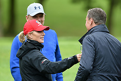 Zara Tindall with David Coulthard during the ISPS Handa Celebrity Golf Classic at The Belfry in Sutton Coldfield.